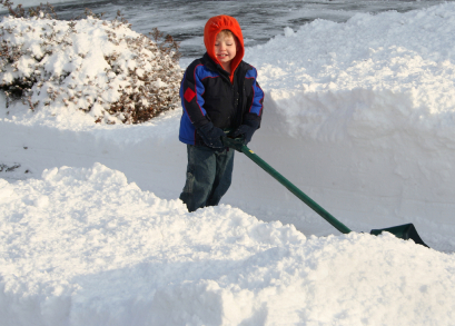 Helping Little Hands - toddler helping shovel snow