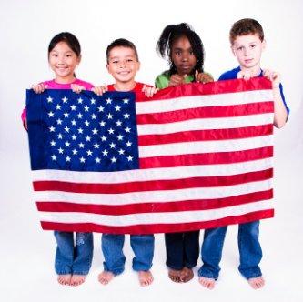 patriotic children holding a flag