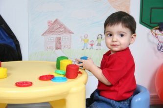 small toddler in daycare