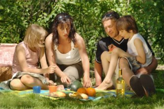 enjoying a family picnic