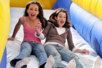 Two friends having fun during school break