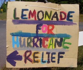 charity begins at home: lemonade for Hurricane relief