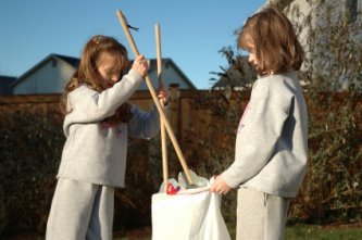 sisters doing their chores