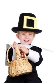 Little boy dressed up as a pilgrim