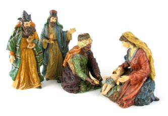 baby Jesus, Mary and three Wise Men