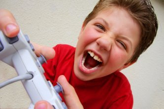 boy totally engrossed in video games