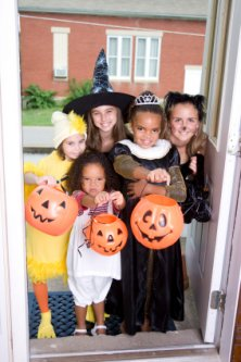 trick or treat - group of trick or treaters on Halloween