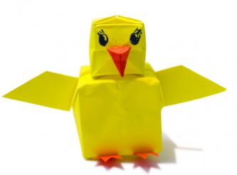 child handmade origami chick