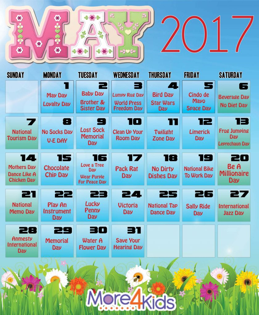 May Calendar - Holidays